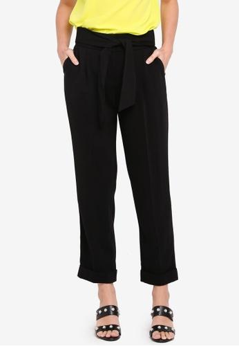 Dorothy Perkins black Black Tie Tapered Trousers DC477AAD07D115GS_1