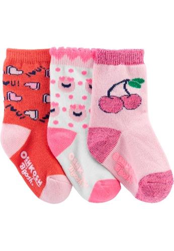 Oshkosh B'gosh pink OSH KOSH Girl 3 Pack Pink Neon Crew Socks ECB50KA30F7FF3GS_1