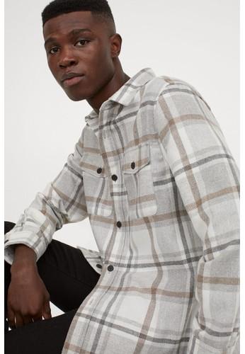 H&M beige Twill shirt jacket C0246AAF8ABAC6GS_1