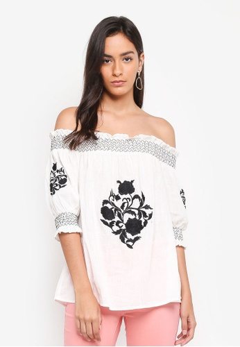 Dorothy Perkins white White Embroidered Shirred Top 18215AAD50E427GS_1