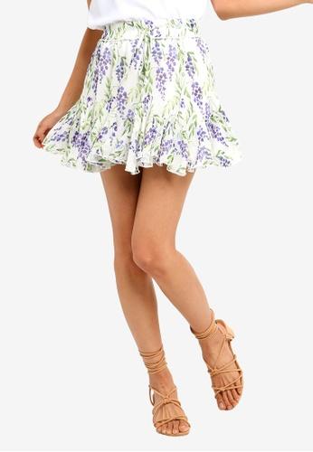 INDIKAH white Floral Print Mini Skirt 058D2AAAF6CF41GS_1