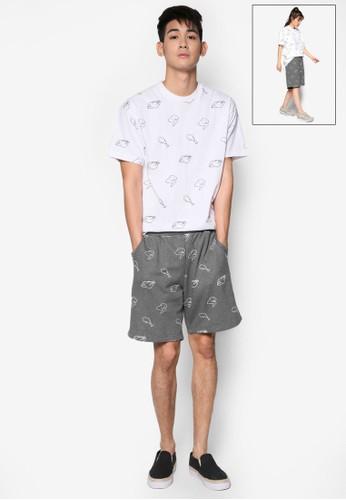炸雞esprit hk圖案運動短褲, 服飾, 短褲