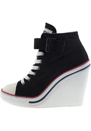 Maxstar Maxstar Women's 777 One Buckle Strap Canvas High Wedge Heel Sneakers US Women Size MA168SH37ZVEHK_1