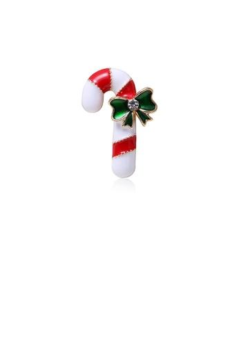 Glamorousky white Fashion Simple Christmas Cane Ribbon Brooch with Cubic Zirconia 7B9CFACCEBEAEFGS_1