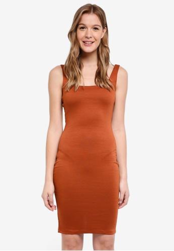 Cotton On brown Kimi Scooped Bodycon Midi Dress DAFC9AA8F6A5F4GS_1