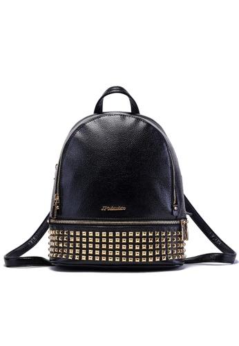 Vince black Korean Designed Studded Backpack with Zip ( Black ) VI456AC88FNFMY_1