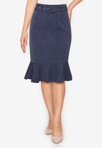 ZALORA WORK blue Belted Fluted Hem Skirt 85977AA9D42A5EGS_1