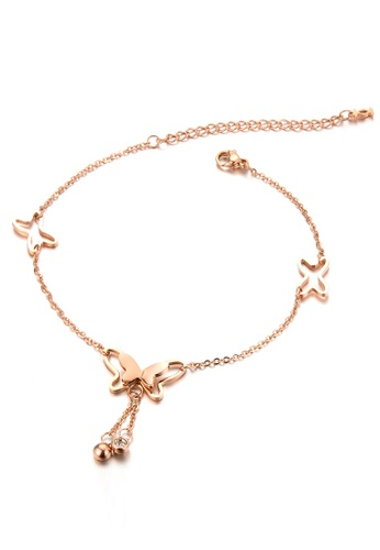 Trendyshop gold Butterfly Rose Gold Anklet 4A4B3ACF49A139GS_1