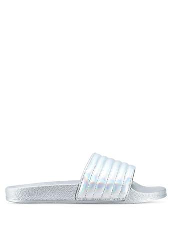 Slydes 銀色 金屬感壓紋拖鞋 1EEEFSHD48730DGS_1