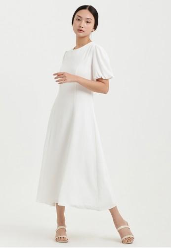 Cloth Inc white Gemma Puff Sleeve Dress in White 44826AA3A5DF36GS_1