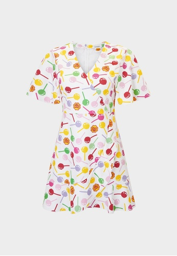 Pomelo white Lollipop Print Mini Dress - White 40E69AAFA7C33DGS_1