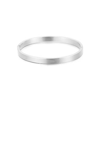 Glamorousky silver Fashion Simple Geometric Round 316L Stainless Steel Bangle ADC24ACE9E13E9GS_1