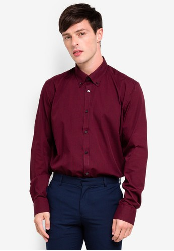 OVS red Slim Fit Long Sleeve Formal Shirt 39574AA3C72E5DGS_1
