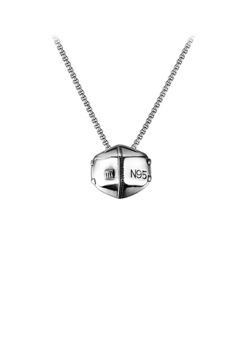 Glamorousky silver Fashion Personality 316L Stainless Steel Mask Pendant with Necklace 8A4D8ACEE7F3BBGS_1