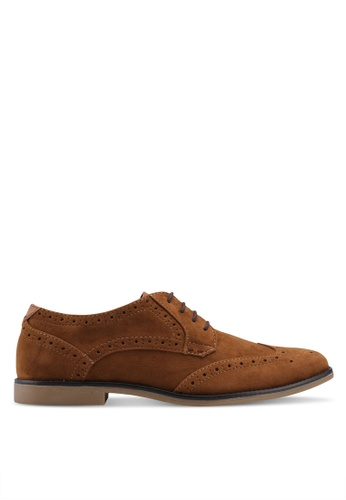 Burton Menswear London brown Tan Suede Look Brogue Shoes 39067SHB1938F9GS_1