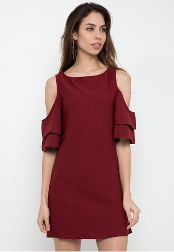 Glamour Studio red Plain Cold Shoulder Dress 13084AAA136D32GS_1