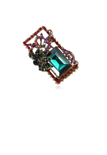 Glamorousky green Fashion and Simple Plated Gold Geometric Pattern Brooch with Green Cubic Zirconia 26016ACB9222A0GS_1