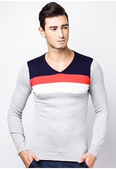 V-neck Long Sleeves with Stripes Top