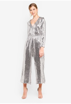 1662c8a8a70e Miss Selfridge silver All Over Sequin Jumpsuit 96A9DAA71ACA94GS 1