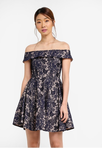 Something Borrowed navy Lace Off Shoulder Fit And Flare Dress FF65EAA1D84DF2GS_1