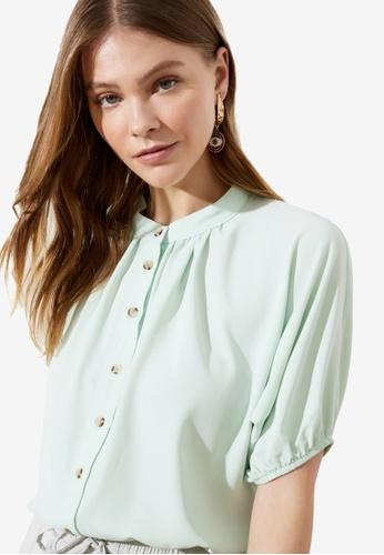 Trendyol green Stand Collar Puff Sleeve Shirt 6C965AACDE14A4GS_1