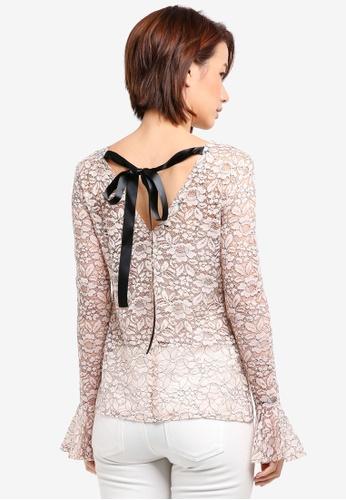 Vesper black and pink Vesper Heidi Lace Tie Detail Top 4BDC4AA2679647GS_1