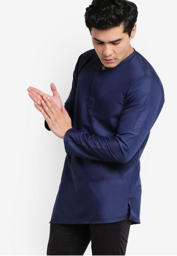 Amar Amran blue and navy Kurta Al Fattah AM362AA42JYFMY_1