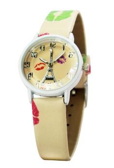 OLJ Kiss Eiffel Leather Strap Watch A2449