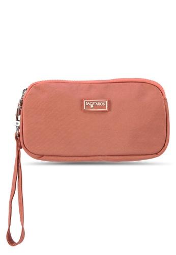 Bagstationz pink Crinkled Nylon Wristlet Pouch 250BDAC2D83D7DGS_1