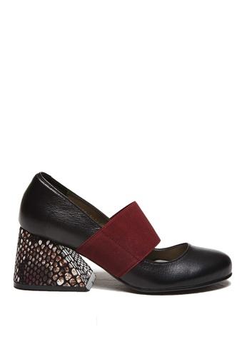 KissXXX 黑色 小羊皮時尚異形粗跟瑪莉珍鞋 KI603SH09PNPTW_1