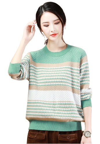 A-IN GIRLS green and multi Polka Dot Striped Crew Neck Sweater 147E4AABC9A692GS_1