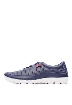 MIT。輕量。蠟感牛皮。簡約沖孔休閒鞋-09304-藍色