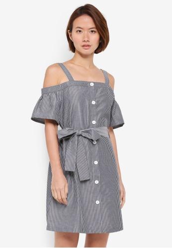 ZALORA black Button Down Cold Shoulder Dress 0B76EAAD1CF668GS_1