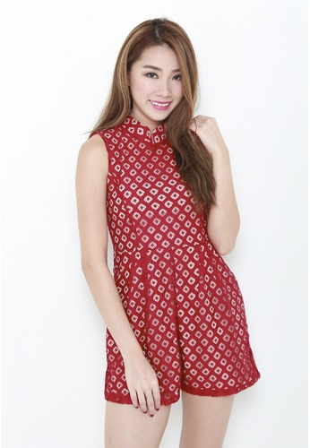 Leline Style red Jess Orential Lace Romper CC84BAAA939516GS_1