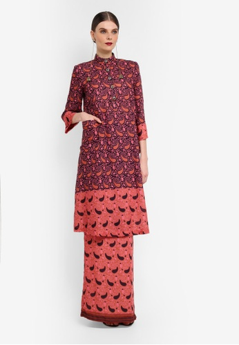 Rizalman for Zalora black and red and pink Mandarin Collar Kurung RI909AA0SF0SMY_1