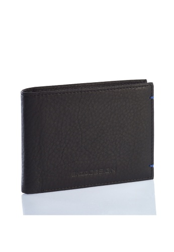 ENZODESIGN black and blue Ultra Soft Cow Nappa Leather Slim Wallet EN357AC0HAXMSG_1