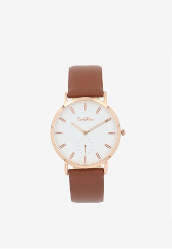 Carlo Rino brown Dark Brown Good Times Leather Strap Timepiece F960FACBCFCC72GS_1
