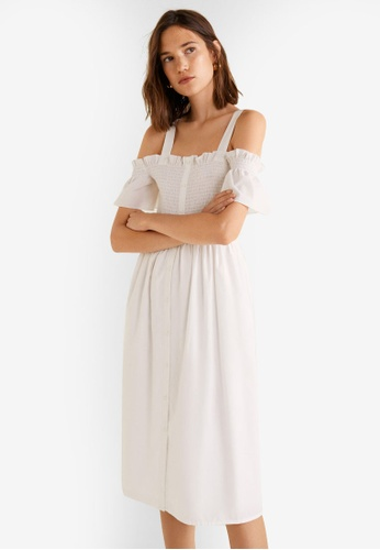 Mango white Cold-Shoulder Dress ECAB2AAE92EF45GS_1