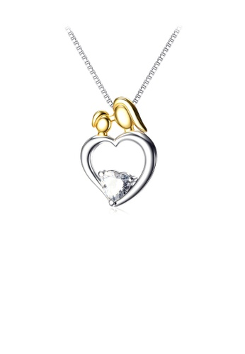 Glamorousky white 925 Sterling Silver Fashion and Elegant Heart Pendant with Cubic Zirconia and Necklace 6F133ACA3E9FB5GS_1