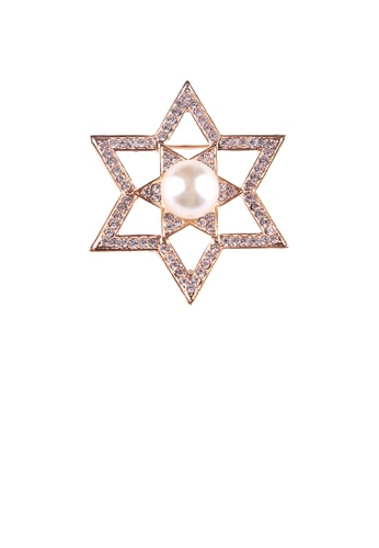 Glamorousky white Fashion and Simple Plated Gold Hollow Star Imitation Pearl Brooch with Cubic Zirconia 0C665AC7EBA5C9GS_1
