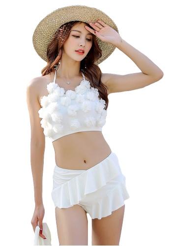 YG Fitness white (3PCS) Three-Dimensional Flower Sexy Lace Bikini Set 9554AUS0D8EFAAGS_1