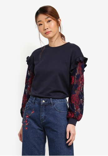 Something Borrowed navy Lace Sleeve Sweater With Ruffles 94B46AAF69E79AGS_1