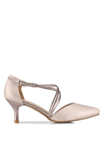 DMK gold and beige Crossed Pump Heels F3D81SHE0ABF71GS_1