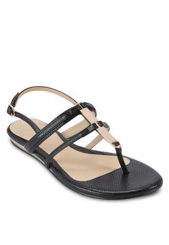 LIZZIE 金飾zalora 包包評價蛇紋繞踝涼鞋, 女鞋, 鞋