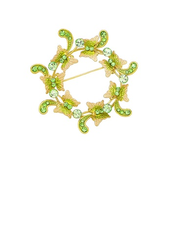 Glamorousky silver Dazzling Butterfly Garland Brooch with Green Austrian Element Crystals 291C7AC01338B2GS_1