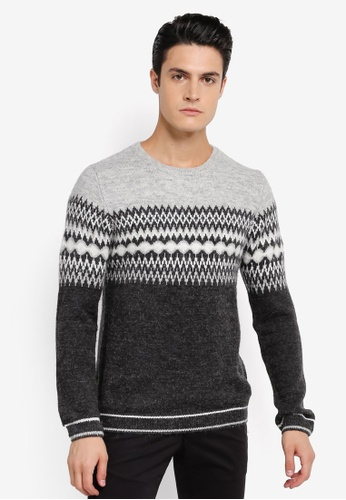 River Island grey Nordic Fairilise Block Knit Jumper RI009AA0SRKKMY_1