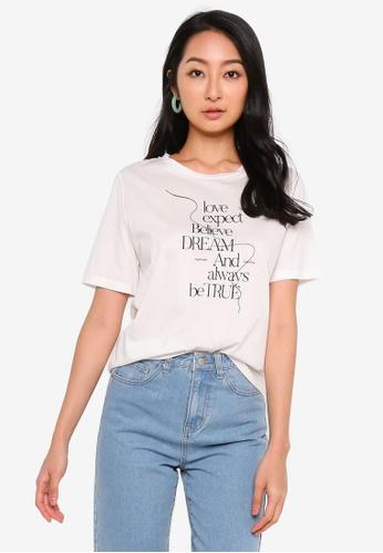 Urban Revivo 白色 印花T-襯衫 7BB75AAD26CD97GS_1