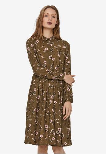 Vero Moda green Gallie Long Sleeve Shirt Dress CB255AA799C866GS_1