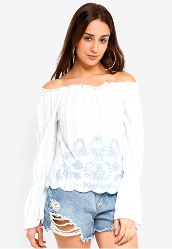 45f61e460e5d06 Miss Selfridge multi Stripe Embroidered Long Sleeve Bardot Top  CA7B2AA833E969GS 1