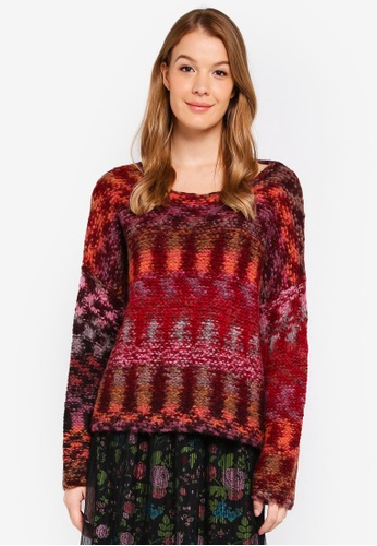 United Colors of Benetton red Printed Knitted Sweater B71A5AAB7401FAGS_1